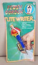 FLASH GORDON Lite Writer Figural Vintage Light Up Pen Complete on Card 1978 NOS