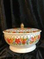 Vintage Tin Container Made in England Floral Design with Lid