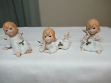 1984 Set Of 3 Lefton Porcelain Figurines Angels Hand Painted #04591 Child (Ad37)