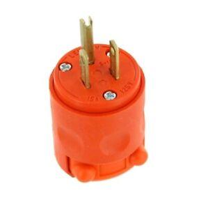 Leviton 515PV-OR 15 Amp 125V Grounding Plug, Orange