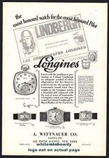 1928 LONGINES Watch presented to Charles Lindbergh by Guatrmala PRINT AD