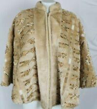 Vtg Tregos Westwear Tan Brown Faux Fur Zip Cape Poncho Osfa - Usa Made!