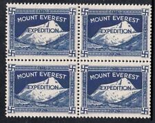 India 1924 Mount Everest Expedition Label B/4 MNH Gummed Reproduction Stamp sv