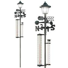 More details for 5-in-1 garden weather station with solar light thermometer wind speed rain gauge