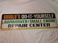 """Vintage Arnolds Do It Yourself Repair Shop Metal Sign ~ 36"""" Lawnmower Engine"""