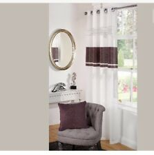 """White Plum Insert Embroidered Sparkle Eyelet Voile Net Curtain Panels 55""""x72"""""""