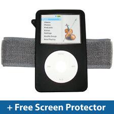 Noir silicone case + brassard pour apple ipod classic 80gb 120gb 160gb couverture de peau