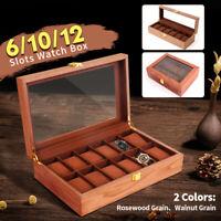 6/10/12 Slots Vintage Wooden Watch Box Display Organizer Jewelry Storage Case