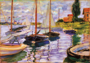 Sailboats on the Seine - C.Monet Large A2 size Canvas Art Print Poster Unframed