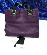 Furla Puple Mini Tote Handbag Magnetic Closure Pink Suede