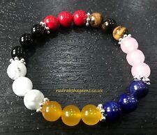 7 Chakra Bracelet Stones Reiki Balancing Custom Size Stretch Spiritual Healing