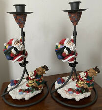 PAIR BOXED TRADITIONS CHRISTMAS SANTA CLAUS TABLE CANDLESTICKS CANDLE HOLDERS