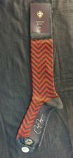VK Nagrani Men's Dress Socks Over The Calf L379 CHARCOAL GRAY & RED