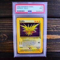 Zapdos Holo PSA 9 MINT - 1999 Fossil Set 15/62 Vintage WotC Unlimited Pokemon