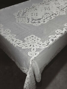 """White 60"""" X 124"""" Lace Tablecloth Artistry Dining Room Wedding Banquet Party"""