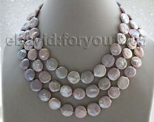 "17-18-19"" 3Rows Genuine Natural 16mm Purple Coin Pearl Necklace #f1795!"