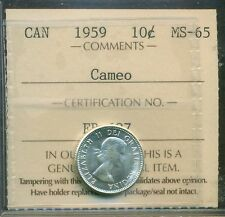 Canada 1959 Silver 10 Cent Certified ICCS MS-65 Cameo
