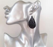 Pretty black patterned teardrop acrylic - plastic drop earrings NEW