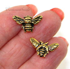TierraCast Honey Bee Beads, Antiqued Gold Plated Pewter, 5 Pieces, 1926