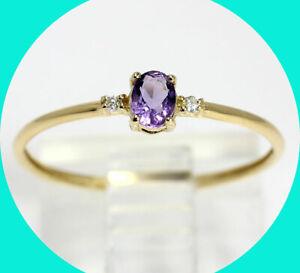Bony Levy .15CT H diamond oval amethyst ring 18K YG sz 7 birthstone