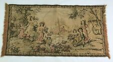 Vintage Colonial Tapestry Wall Hanging Children On The Farm Scene 19 x 36