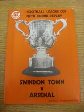 11/12/1980 Swindon Town v Arsenal [Football League Cup Replay] . Unless previous
