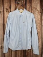 Hollister Mens Button Up Striped Long Sleeve Shirt Blue White Large Top