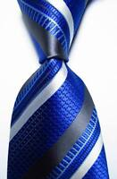 New Classic Striped Blue Gray White JACQUARD WOVEN 100% Silk Men's Tie Necktie