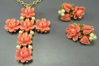 FAUX CARVED CORAL Celluloid CROSS PENDANT Gold Necklace CLIP ON EARRINGS SET VTG