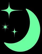 Glow In The Dark Moon and Stars Wall Art Vinyl Stickers Kids Bedroom Art