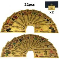 Collection complète 22 billets 10000 Yen Dragon Ball Z DBZ Gold / Card Or NEUF