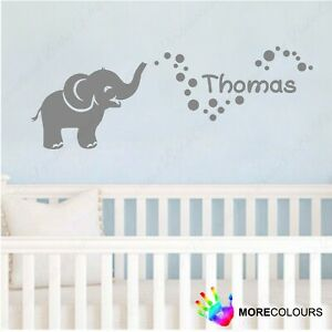 Personalised Elephant Name Bubbles Wall Art Sticker Kids Dumbo Childrens
