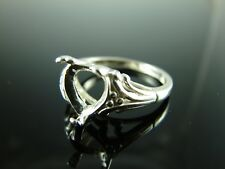 6095 Ring Setting Sterling Silver Size 8.75, 10mm Heart Gemstone