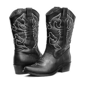 AU SHIP SheSole Ladies Black Western Cowboy Cowgirl Boots for Women Size 5-10