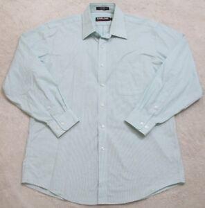 Blue Dress Shirt Large 16.5 33 Long Sleeve Cotton Non Iron Kirkland Signature