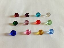 Set of 12 6 mm Round Birthstone/accent crystal charms for glass floating lockets