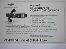 3/1976 PUB CRYPTO AG HAGELIN CRYPTOPHONIE CRYPTOCOM CRM-008 FRENCH AD
