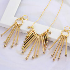 Luxury 18k gold filled  GF Women's Necklace Earrings set with crystal