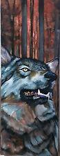 Tableau Peinture huile sur toile, loup portrait animalier, 80/30 cm hst