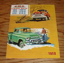 1958 GMC Truck 4-Wheel Drive 100 150 250 Foldout Sales Brochure 58