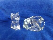 Crystal glass cat votive sleeping Candle Heavy Indiana? Princess House? Lot 2