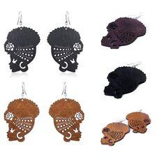 Party Tribal Jewelry Unique Wooden Dangle Ear Stud Hook African Head Earrings