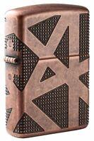 Zippo Armor Antique Copper Geometric 360 Design Windproof Pocket Lighter, 49036
