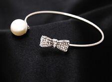 Women's Fashion 925 SILVER Plated Elegant Crystal Bow & Pearl Bracelet Bangle