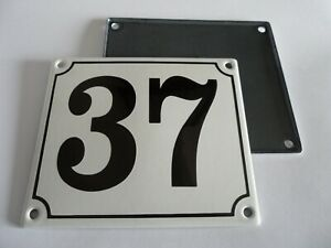 Old German White Enamel Porcelain Metal House Door Number Street Sign / Plate 37