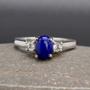 Natural Lapis Lazuli & White Topaz Trilogy Silver Ring Sz O1/2 (UK) 7.5(US) R110