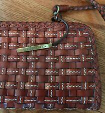 "Elliot Lucca Brown Woven Braided Leather Baguette Handbag Purse Clutch 13"""