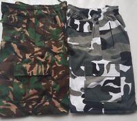 mens elasticated camouflage shorts camo cargo 5 pockets casual fleece cotton
