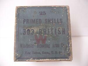 Rare Winchester Ammunition Box 25 Primed Shells 303 British Cartridges Empty
