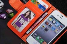 I Phone 5,5S Leather Wallet/Photo/card Flip Case/Cover 💘 ORANGE COLOR .